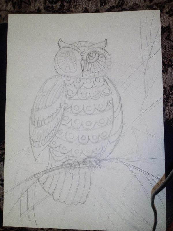 1) Рисуем понравившейся эскиз на формате А3.