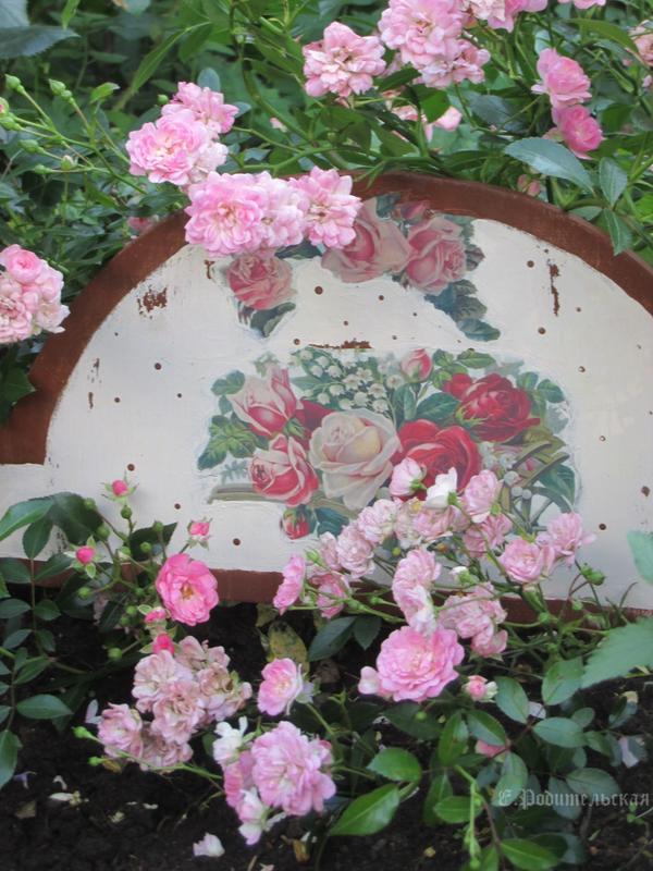 Подставка для почвопокровных роз в стиле Прованса . Благодаря ей большинство ветвей розочек остаются декоративными даже в дождь.
