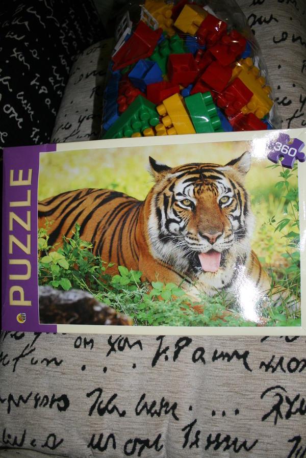 Большой пакет с конструктором и пазл с тигром
