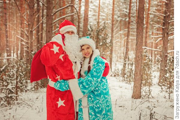 дед мороз, снегурочка, лес, зима, новый год