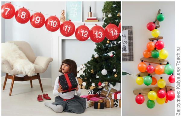 Адвент-календари из воздушных шаров. Фото с сайтов http://look-what-i-made.com http://www.notonthehighstreet.com