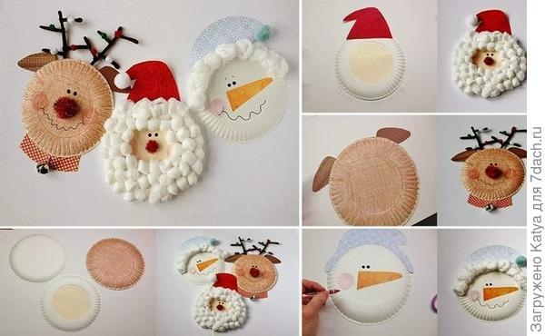 Новогодние поделки из картонных тарелок. Фото с сайта http://cristmascraftsaz.esy.es