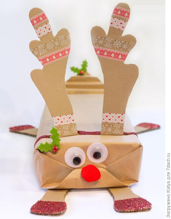 Упаковка подарка - олень. Фото с сайта http://kidscraftroom.com
