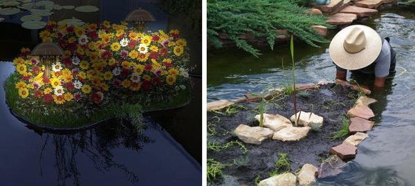 Украшение плавающей клумбы фонариками, отделка краев клумбы камнями