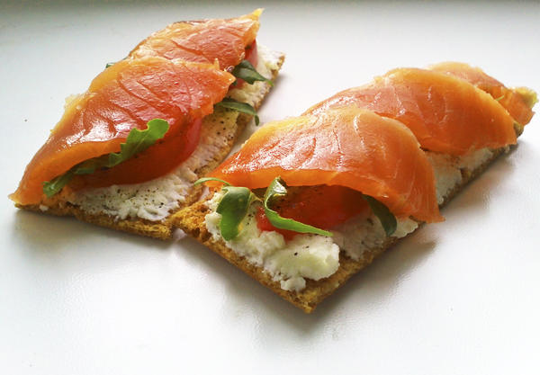Мои бутерброды с лососем и руколой