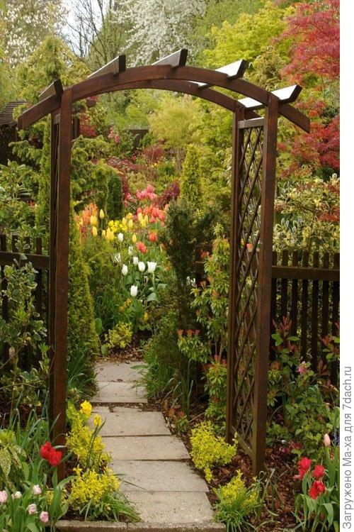Каркас садовой арки из дерева