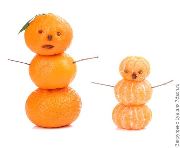 Снеговики из мандарин
