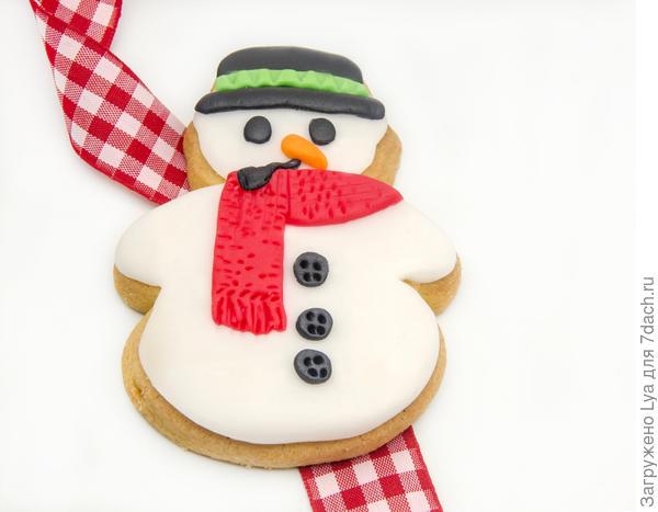 Печенье в форме снеговика