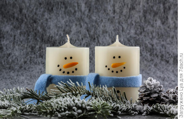 Снеговики из свечек