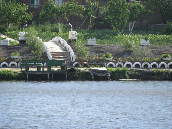 Лебеди из покрышек