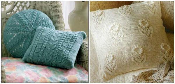 Вязаные чехлы на подушки различной формы