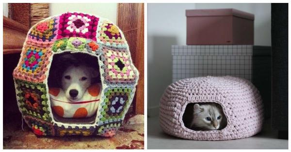 Вязаные домики для животных