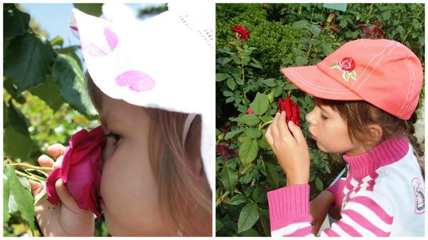 Алиса и Лия вдыхают розовый аромат