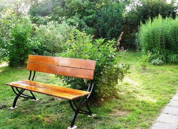 Садовая скамейка со стальными опорами. Фото с сайта Rielt man