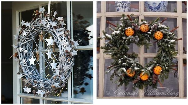 Рождественские венки на окнах