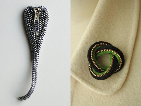 Элегантные броши из молний. Фото с сайта pinterest.com