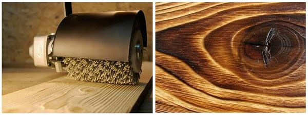 Станок для браширования древесины, фото с сайта d-wood.ru. Обожженная древесина, фото с сайта stroyrubrika.ru.