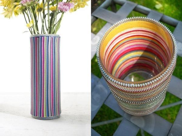 Чехол для вазы из застежек-молний. Фото с сайта pinterest.com