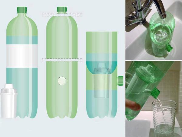 Портативный фильтр из пластиковой бутылки. Фото с сайта sossolteiros.bol.uol.com