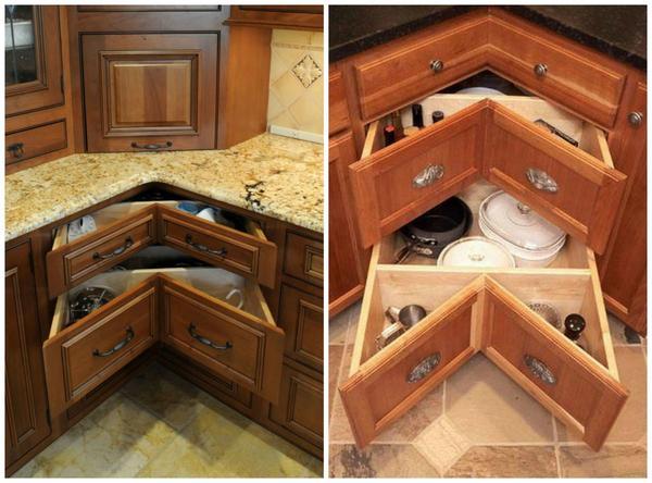 Кухонные угловые шкафы. Фото с сайта hanlonstudios.com