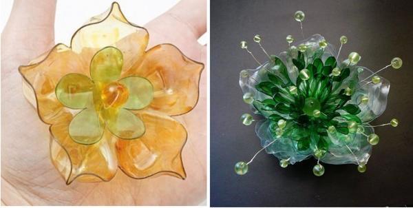 Цветки из пластиковых бутылок. Фото с сайта ru.pinterest.com