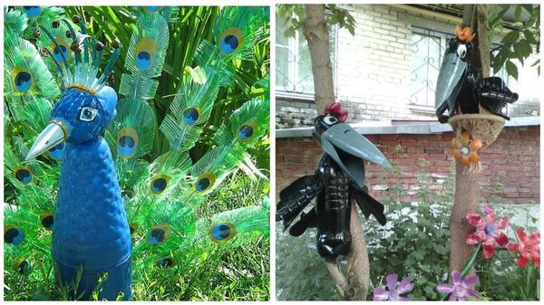 Забавные птицы из пластиковых бутылок. Фото с сайта ru.pinterest.com