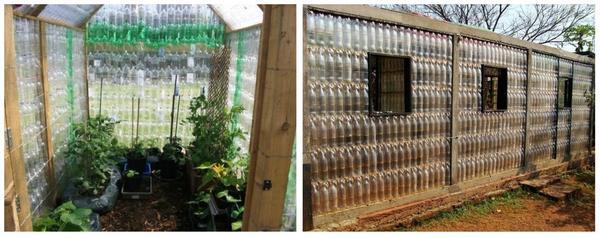 Теплицы из пластиковых бутылок. Фото с сайта ru.pinterest.com