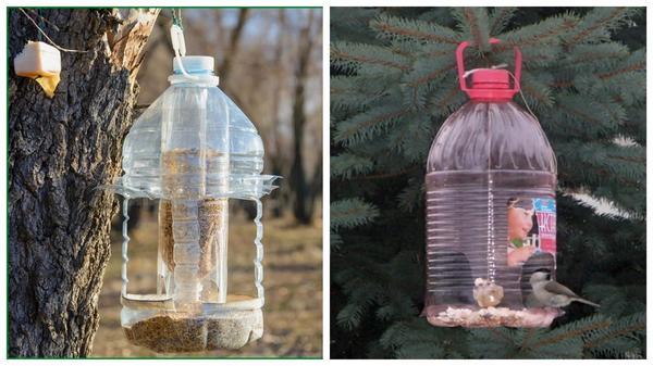 Птичьи кормушки из пластиковых бутылок. Фото с сайта ru.pinterest.com