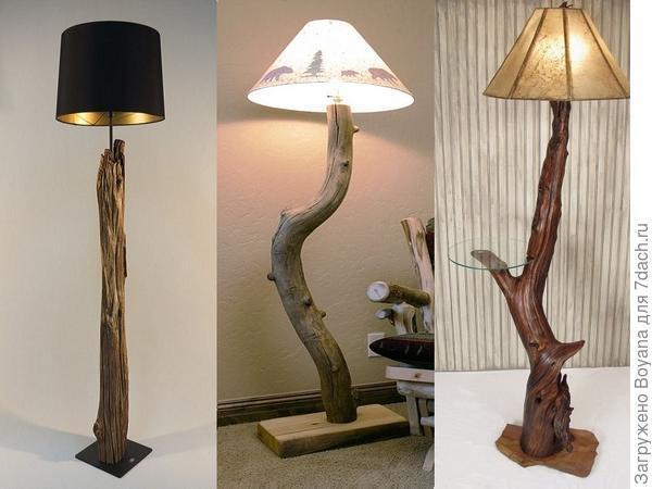 Деревянные напольные светильники