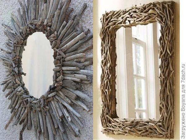 Оправа из деревянных ветвей для зеркала