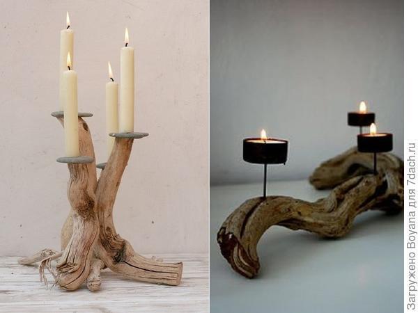 Подсвечники из различных частей спиленного дерева