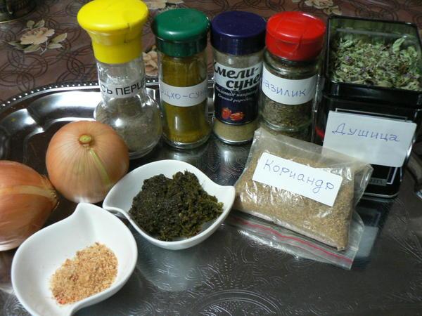 Часть продуктов для пхали
