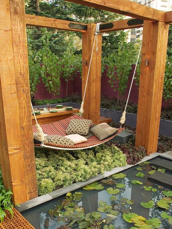 Гамак оригинальной формы идеально смотрится в японском саду камней или в любом минималистичном дизайне