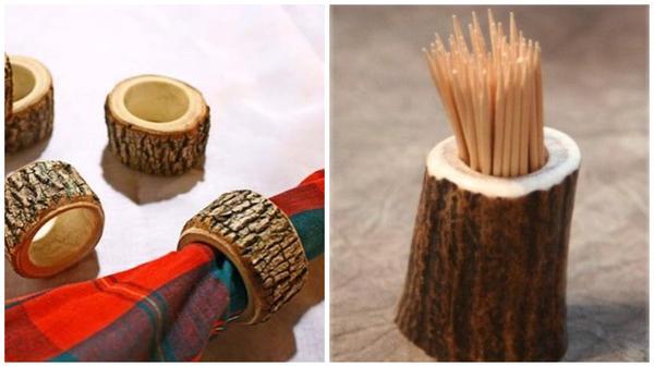 Кольца для салфеток и стаканчик для зубочисток