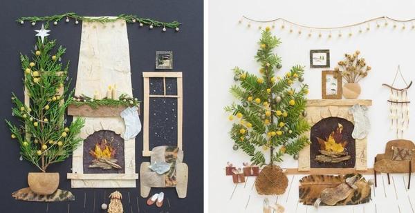 Елка, свечи и камин - новогодняя классика