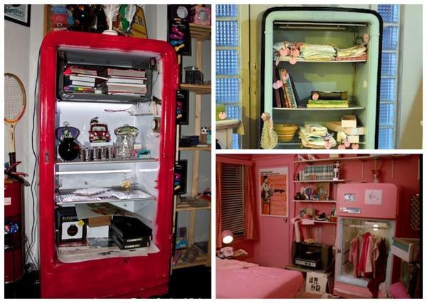 Открытый шкаф из старого холодильника