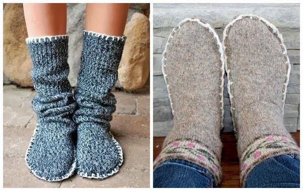Теплые носки проще сшить, чем связать