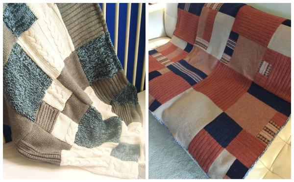 Уютные пледы из старых свитеров