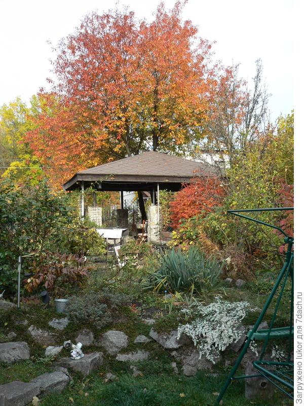 выход в сад с площадки перед домом