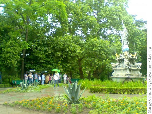 Участники конференции у фонтана Ночь в старинном парке Гурзуфа