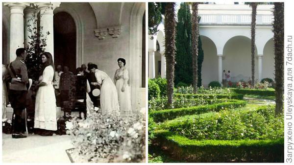Розы в Итальянском дворике в Ливадии, старинное фото сайта www.ruskompas.ru, розы сейчас, фото сайта KrimRapsodiya