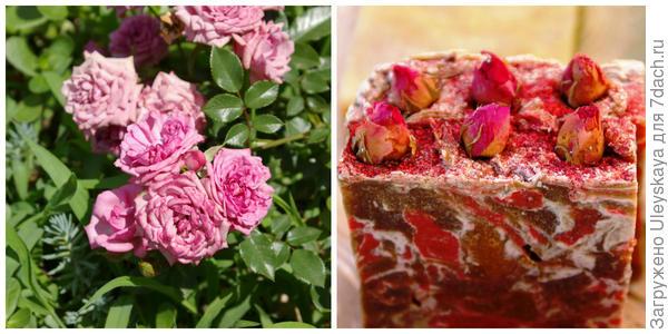 Роза и мыло с лепестками и цветками роз, фото автора