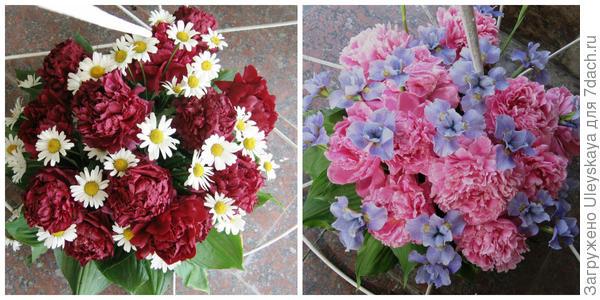 Махровые пионы в цветочных композициях, фото автора