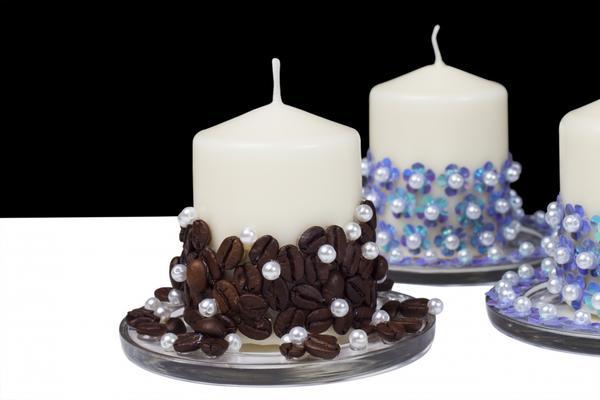 Украшение свечей - кофейные зерна и бусы