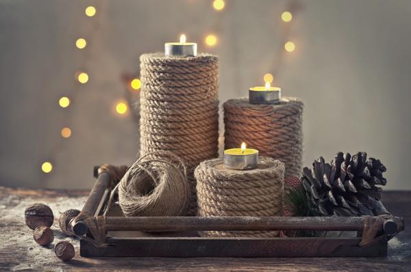 Подставки для свечей из натуральных материалов