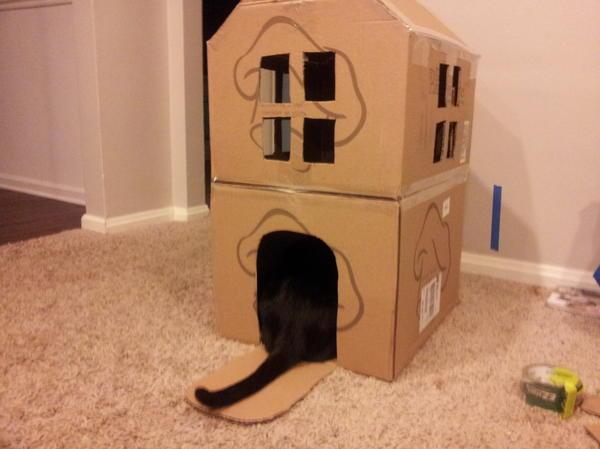 Двухэтажный домик из картона, фото с сайта sethstevenson.net