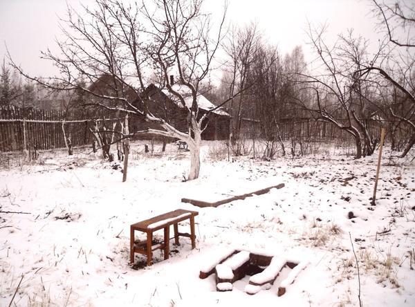 Сад. Апрельский снег