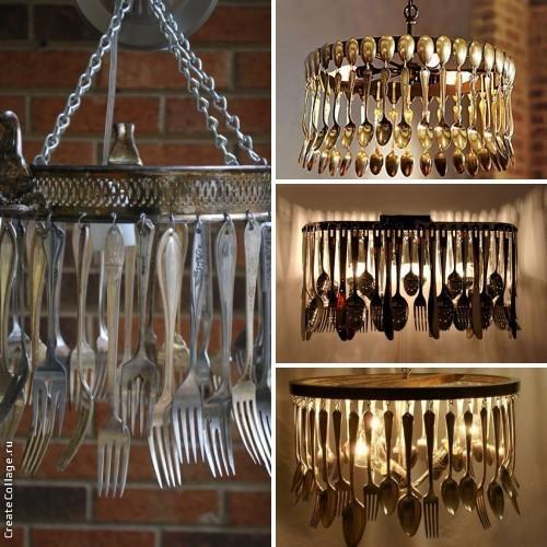 Светильники из ложек и вилок