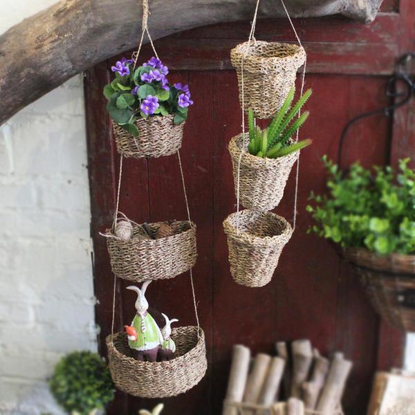 Очаровательные плетеные корзинки-кашпо
