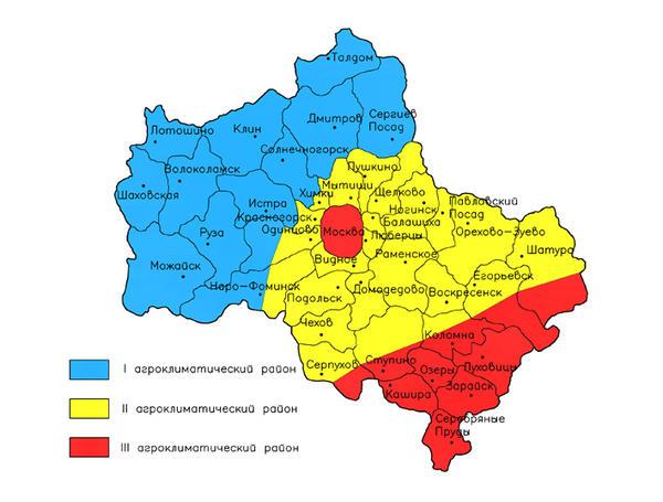 Агроклиматические районы Подмосковья. Схема с сайта www.iskusstvozemli.ru
